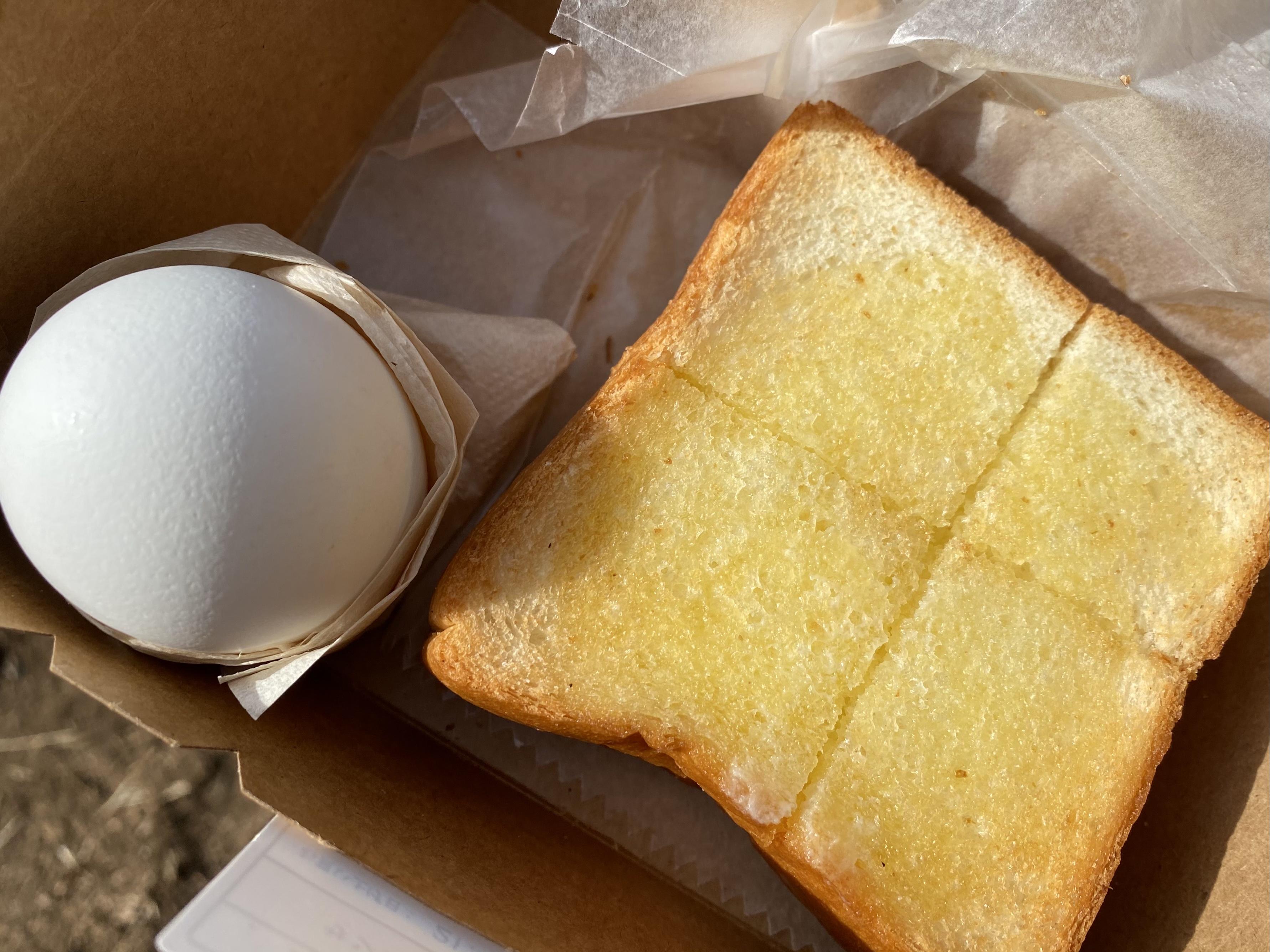 ゆで卵&厚切りバタートースト