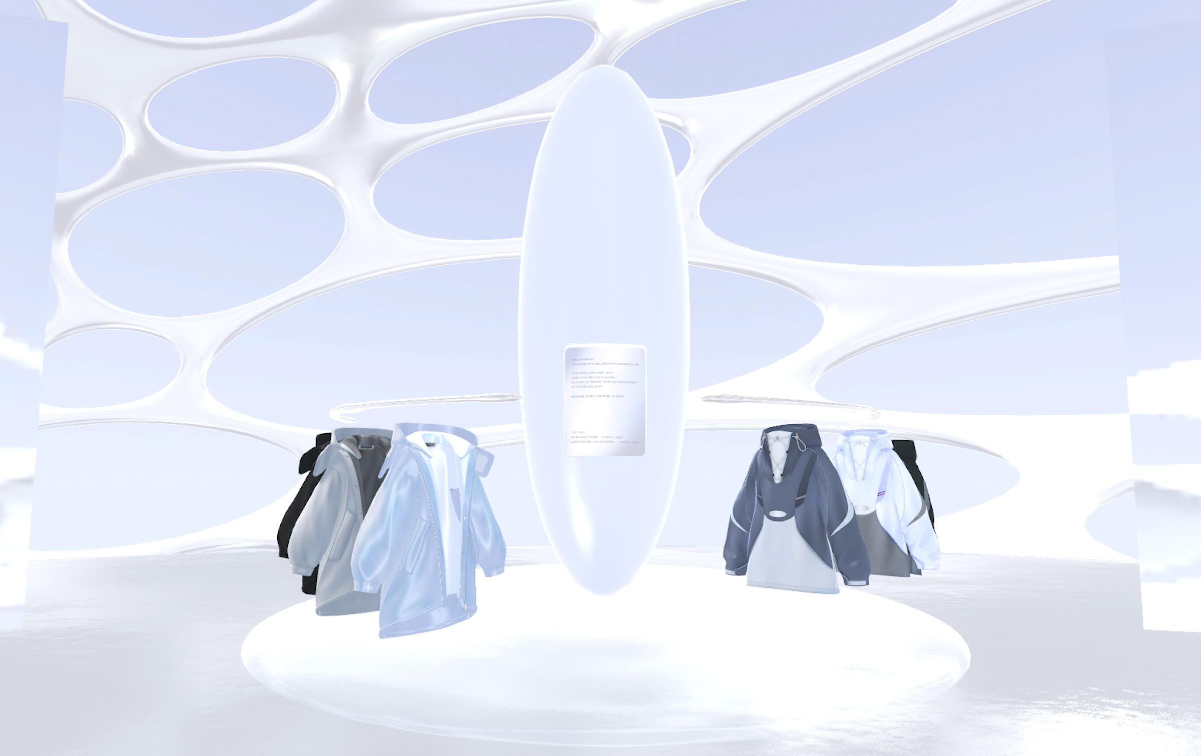 画像: アバターウェア Shelter Coat、Y2K Anorakの展示風景。ここから服を取り、試着体験をすることができる
