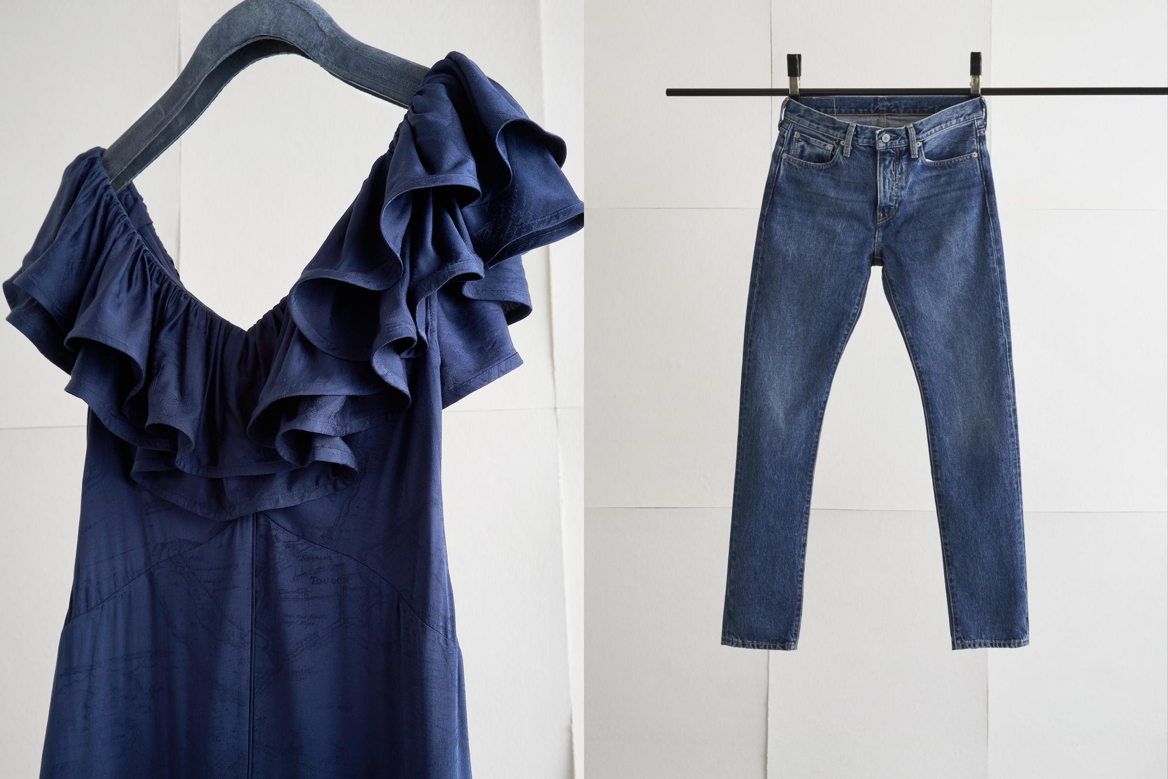 画像: (左から)H&M のブルードレス、Levi'sジーンズ