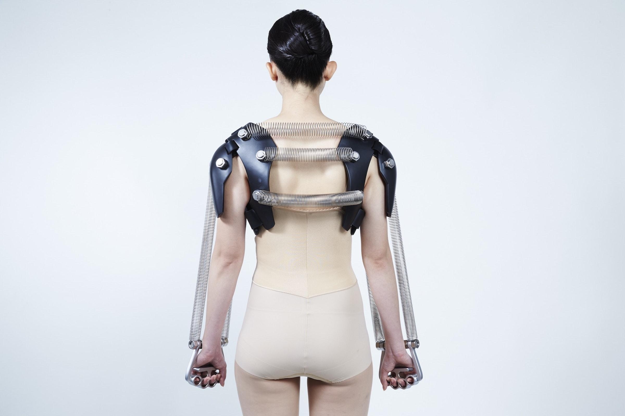 Plaster cast to prevent bad, slumped posture & Plaster cast to build arm muscles.