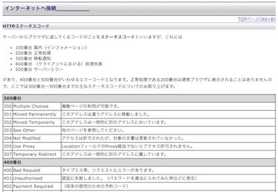 HTTPステータスコード一覧