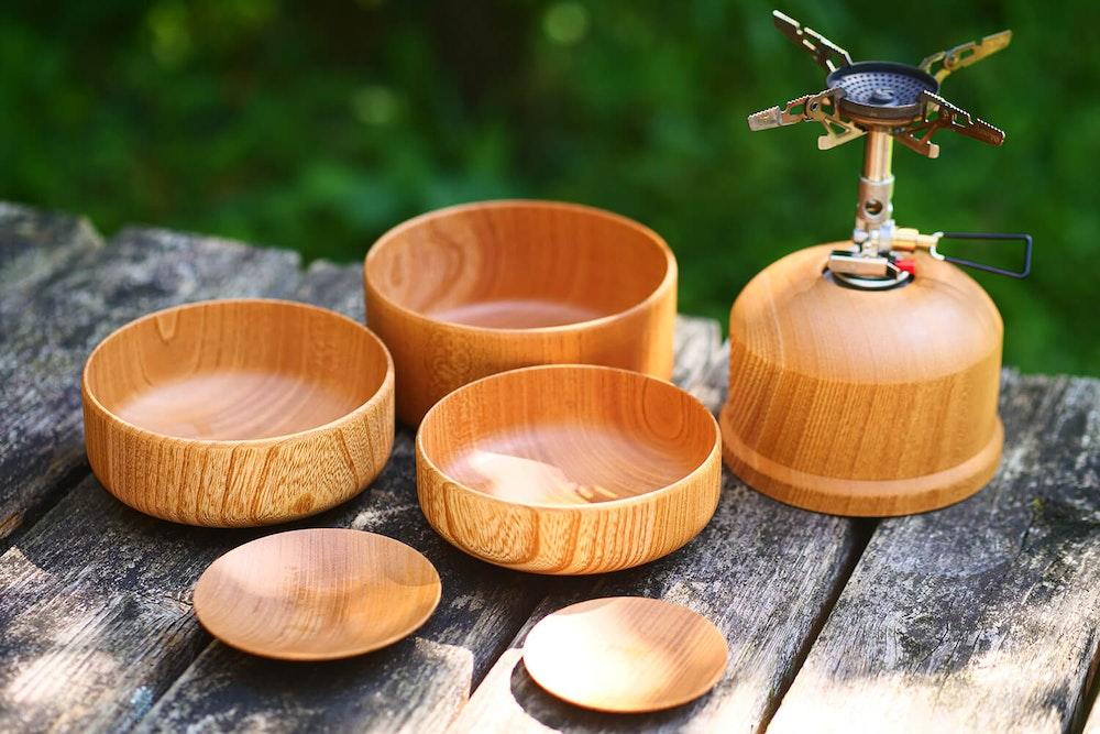 木の器で、秋を感じる山ごはん shiho&ヤッホー!!さん。の家族とヤマオウリョウキ考
