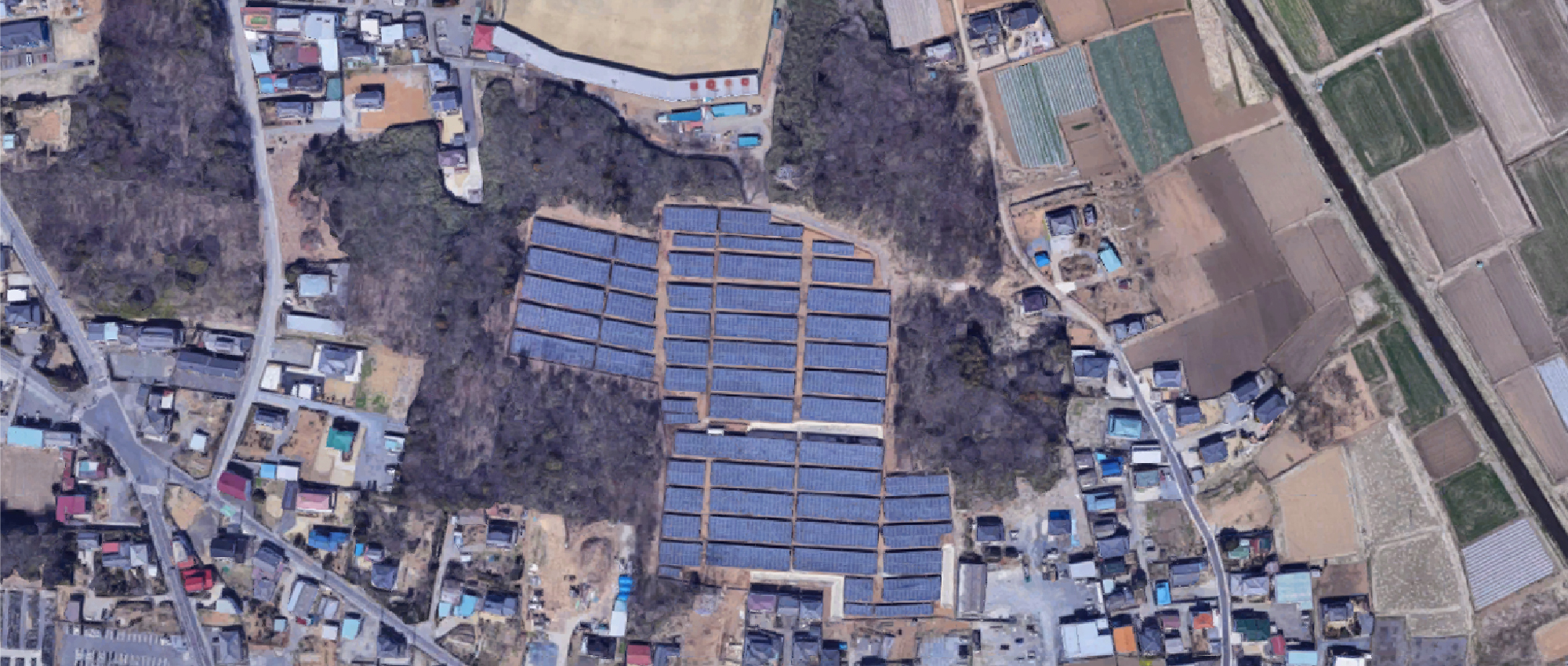 上から見たエネグローバル古河下大野第一発電所
