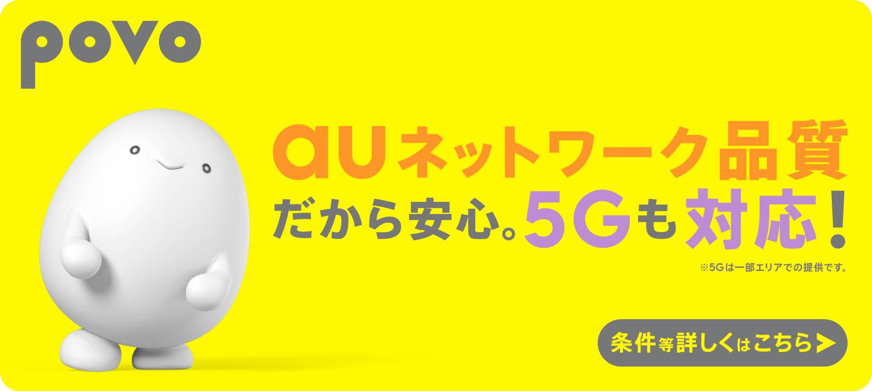auネットワーク品質だから安心。5Gも対応 !