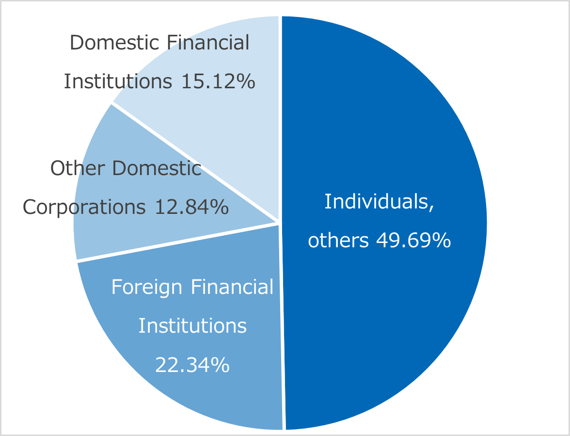 Individuals, others 49.69% Foreign Financial Institutions 22.34% Other Domestic Corporations 12.84% Domestic Financial Institutions 15.12%
